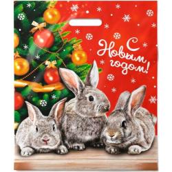 Пакет подарочный 40*47см ПВХ 45мкм Новогодняя увертюра прорубная ручка Интерпак 137073 упаковка 50шт