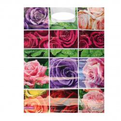 Пакет подарочный Коллаж роз 360*460*30мм, ПВХ, толщина 45мкм, ручка прорубная, рисунок Интерпак
