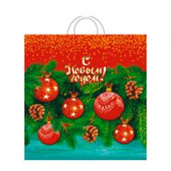 Пакет подарочный 40*42*3 ПНД 45мкм Елочный декор ручка петля Интерпак 133757