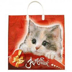Пакет сумка 35*37*8 ПНД 90мкм Амурчик пластиковая ручка Интерпак 113467