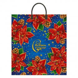 Пакет сумка 40*44*10 ПНД 100мкм Пуансеттия  пластиковая ручка Интерпак 135263