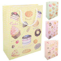Пакет подарочный 26*32*12 Sweetmeats матовая ламинация блестки выборочный лак 200389 КОКОС ассорти 4 вида