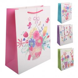 Пакет подарочный 26*32*12 Цветы матовая ламинация тиснение фольгой стразы КОКОС 200390 ассорти 4 вида