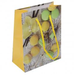 Пакет подарочный 11*14*6 Желтые и зеленые макаруны глянецевая ламинация Миленд ПКП-2869