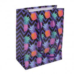 Пакет подарочный 11*14*6 Яркие ананасы глянцевая ламинация Миленд ПП-4864