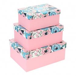 Набор подарочных коробок Flowers 3шт, 22*29*13-14*21*10см, розовый КОКОС 212938