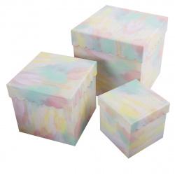 Набор подарочных коробок 3шт Нежность (23*23*23-13*13*13) КОКОС 207406