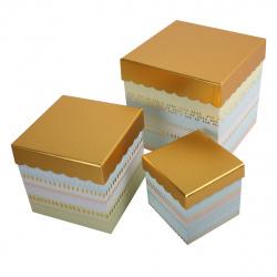 Набор подарочных коробок 3шт Gold (23*23*23-13*13*13) КОКОС 207407