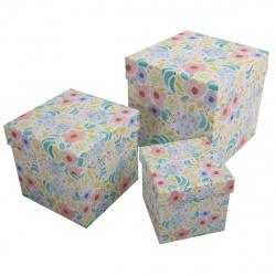 Набор подарочных коробок 3шт Flowers (23*23*23-13*13*13) КОКОС 207408