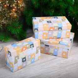 Набор подарочных коробок 3шт Bear (23*16*9-18*12*7) КОКОС 200565