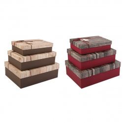 Набор подарочных коробок 3шт Classic Dewen (33*27*11-24*16,5*6,5) КОКОС 209369 ассорти 2 вида