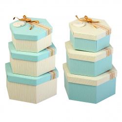 Набор подарочных коробок 3шт Blue Dewen (21*18,5*10-15,5*13,5*7) КОКОС 209371 ассорти 2 вида