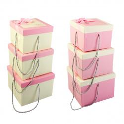 Набор подарочных коробок 3шт Pink Dewen (23,5*23,5*18-18,5*18,5*14) КОКОС 209373 ассорти 2 вида