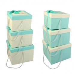 Набор подарочных коробок 3шт Blue Dewen (23,5*23,5*18-18,5*18,5*14) КОКОС 209374 ассорти 2 вида