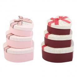 Набор подарочных коробок 3шт Heart Dewen (21*20*9-15*14*6) КОКОС 209375 ассорти 2 вида