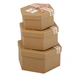 Набор подарочных коробок 3шт Сraft Dewen (21*18,5*10-15,5*13,5*7) КОКОС 209378