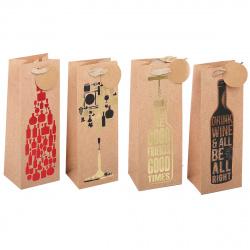 Пакет подарочный для бутылок 12*34*10 Vine KARIIOU матовая ламинация тиснение фольгой КОКОС 209397 ассорти 4 вида
