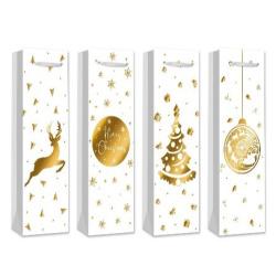 Пакет подарочный для бутылок 12*36*9 Gold pattern матовая ламинация тиснение фольгойКОКОС 209092 ассорти 2 вида