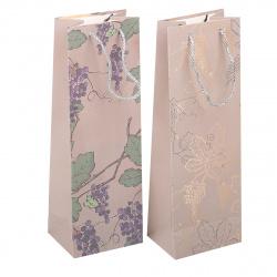 Пакет подарочный для бутылок 12*36*9 Vine матовая ламинация КОКОС 209094 ассорти 2 вида