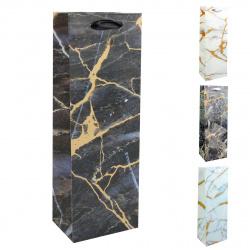 Пакет подарочный для бутылок 12*35*9 Marble Dewen матовая ламинация КОКОС 209327 ассорти 4 вида