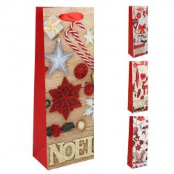 Пакет подарочный для бутылок 13*36*8 Новогодние игрушки Dewen матовая ламинация блестки КОКОС 209354 ассорти 4 вида