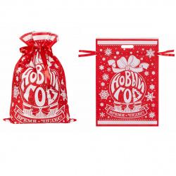 Мешок подарочный С новым годом! 40*56см Феникс-Презент 81030 красный/белый