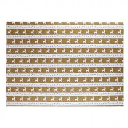 Бумага упаковочная Deer 70*100см, 1 лист, рисунок КОКОС 209678