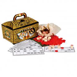 Сувенир Игра настольная Русское лото картонный ларец Десятое Королевство 00142