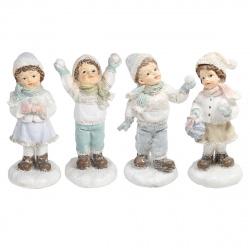 Декор полирезин 11см Мальчик/Девочка со снежком КОКОС 183449 ассорти