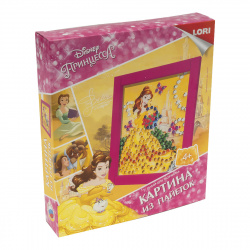 Картина из пайеток 20*25см, картонная коробка Lori Принцесса Белль Disney Апд-013
