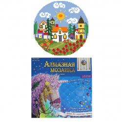 Мозаика алмазная круглая d-24см Рыжий кот Дом с садом частичная выкладка холст на пластиковой основе YKH37