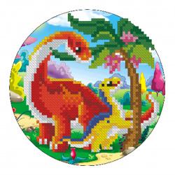Мозаика алмазная круглая d-18см Рыжий кот Веселые динозавры частичная выкладка картон RDC18007