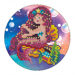 Мозаика алмазная круглая, 180*180мм, выкладка частичная, картон Красивая русалочка Рыжий кот RDS18010
