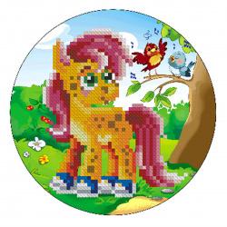 Мозаика алмазная круглая, 180*180мм, выкладка частичная, картон Пони с птичками Рыжий кот RDS18002