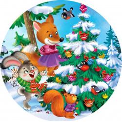 Мозаика алмазная круглая, 180*180мм, выкладка частичная, картон Встреча зверят Рыжий кот RDS18021