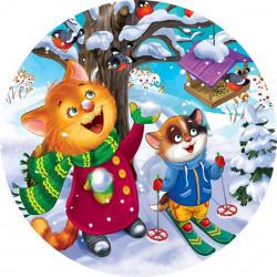 Мозаика алмазная круглая, 180*180мм, выкладка частичная, картон Зимняя прогулка Рыжий кот RDS18023