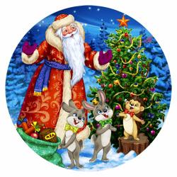 Мозаика алмазная круглая, 180*180мм, выкладка частичная, картон Подарки для лесных зверей Рыжий кот RDS18024