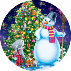 Мозаика алмазная круглая, 180*180мм, выкладка частичная, картон Новогоднее чудо Рыжий кот RDS18022
