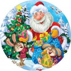 Мозаика алмазная круглая, 180*180мм, выкладка частичная, картон Получение новогодних подарков Рыжий кот RDC18020