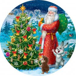 Мозаика алмазная круглая, 180*180мм, выкладка частичная, картон Дед Мороз и зверята Рыжий кот RDC18021