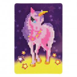 Мозаика алмазная 10*15см КОКОС Единорог частичная выкладка на картоне 209459