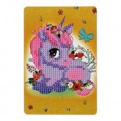 Мозаика алмазная 10*15см КОКОС Единорог частичная выкладка на картоне 209460