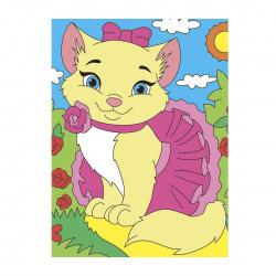 Мозаика алмазная 10*15см Рыжий кот Котенок с клубком полная выкладка АS1003