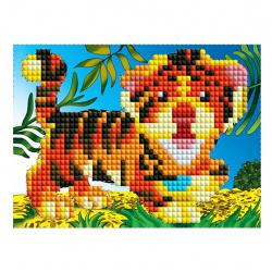 Мозаика алмазная 10*15см Рыжий кот Русалочка с ракушкой частичная выкладка на картоне ASE022