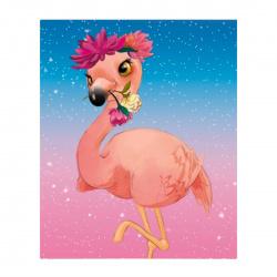 Мозаика алмазная 17*22см Рыжий кот Фламинго с цветами полная выкладка холст на подрамнике AC17061