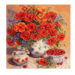 Мозаика алмазная 30*30см Molly Натюрморт с орхидеей КВАДРАТНЫЕ СТРАЗЫ полная выкладка холст без подрамника KM0226