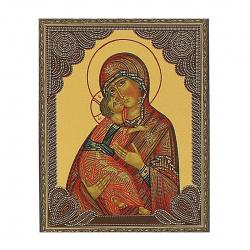 Мозаика алмазная 400*500мм, выкладка частичная, холст Икона Владимирская Божья Матерь Molly KM0794