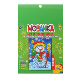 Мозаика из помпонов А5 15*21см Рыжий кот Снеговик М-8570