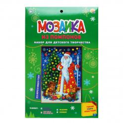 Мозаика из помпонов А5 15*21см Рыжий кот Дед Мороз и мишки у елки М-1281