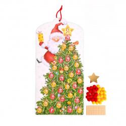 Мозаика из помпонов А4 20*42см Феникс-Презент Елка-календарь Дед Мороз 80908